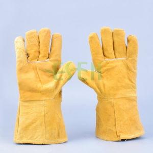 Cheap Price High Quality Cow Leather Gloves /Grey Cow Split Leather Gloves/Cow Leather Working Gloves pictures & photos