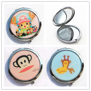 Commerce Advertising Gift Customized Epoxy Metal Pocket Mirror with Cartoon Print