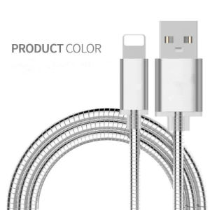 Metal Covered Lightning Charging USB Data Charger Cable for iPhone pictures & photos