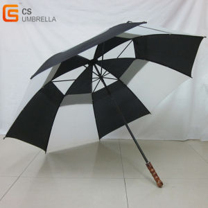 Wooden Handle Golf Umbrella with Air-Vent