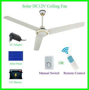 "56"" Solar Panel and Battery Powered 12V DC Ceiling Fan pictures & photos"
