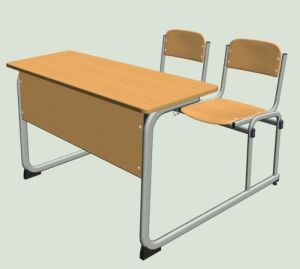 High Quality Wooden Double Desk & Chair (SF-28D) pictures & photos
