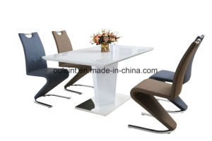 China Painted Glass Top High Glossy Painted Mdf Dining Table With Stainless Base China Dining Table Extension Dining Table