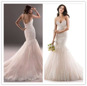 New Designs Sweetheart Mermaid Lace up Lace and Applique Floor Length Champagne Colored Wedding Dresses (MQ1005)