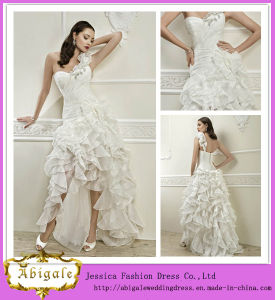 2014 Fashionable White Sexy Beach Wedding Dresses with One Shoulder Button Back Ruched Bodice Ruffled Organza Skirt (MN1368)