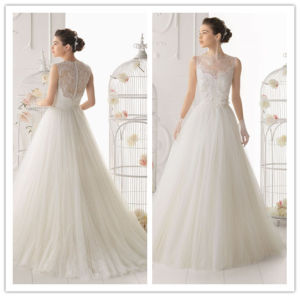 Hot Sale White High Collar Lace and Tule with Button Back A-Line Sleeveless Floor Length Beautiful Wedding Dresses (MQ1007)