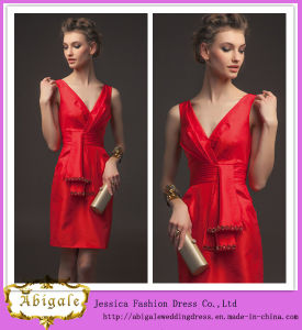 49c95d9b2 China 2014 New Fashion Short A-Line V-Neck Beaded Taffeta Red Latest ...