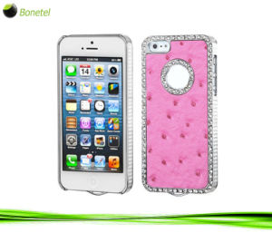 Exotic Leather Diamond Gunmetal Case for iPhone 4 / 4s (Hot pink)