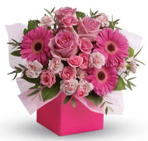 China Pink Square Flower Box Packing Box Gift Box With Beautiful