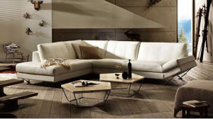 Modern Sectional Leather Sofa With Stainless Steel Legs