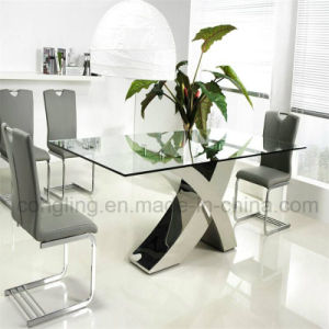 New Design X Shape Feet Top Glass Dining Table for Sale