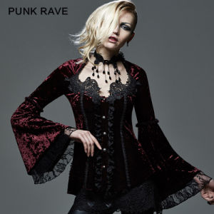 Gothic Lace Thin Long Sleeve Fishing Velvet Shirt Women (Y-588/BK-RD)