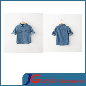 Short Sleeve Jeans Shirt Children Clothing Kids Wear (JT8131) pictures & photos