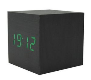 LED Square Wood Electronic Clock, Color Changing Digital Clock