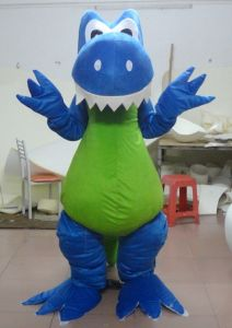 with a Mini Cooling Fan Blue Dinosaur Mascot Costume for Adult