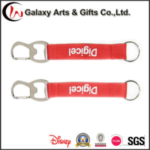 Customized Silk Screen Printed Polyester Beer Opener Short Lanyard for Keychain