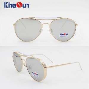 Flat Sunglasses with Silver Mirror Lens Double Bridge Ks1154 pictures & photos