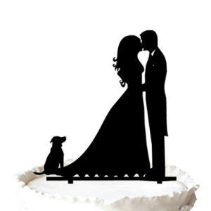 Bride Groom And Dog Silhouette Cake Topper