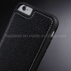 Black with Brown Genuine Leather Case for iPhone 6/6s
