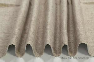 Home Textile Woven Polyester Fabric Waterproof Fr Flocking Linen Blackout Fabric for Window Curtain pictures & photos
