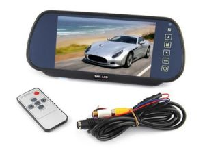 "7"" TFT LCD Color Screen 7 Inch Car Rearview Mirror Monitor Connect to Backup Camera / DVD with 2 Video Input DC 12V PAL/NTSC pictures & photos"