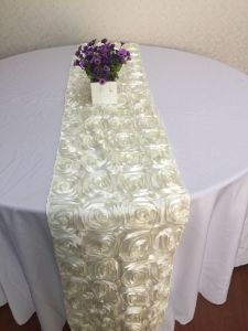 Satin 3D Rosette Embrodiery Table Runners For Weddings Banquet Decoration Table  Cloth