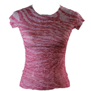 Lady Fashion Burnout R-Neck T Shirt (MDC-110)