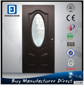 3/4 Small Oval Tempered Decorative Glass Apartment Steel Door pictures & photos