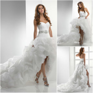 Big Pleated Beaded Sash Long Train High-Low Wedding Dress
