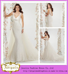2014 Latest Fashion Elegant White Mermaid V Neck V Back Sheer Straps Long Detachable Train Wedding Dress Lace (MN1336)