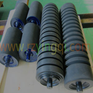 Conveyor Impact Roller with Moulded Cooked or with Impact Rubber Disc Roller Idler Roll Rubber Rings Weigh Idler Roll Roller for Mine Port Belt Conveyor
