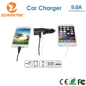 Zoweetek-High Quality Aluminum Shell 7.2A Output 4 Ports USB Car Charger for Cell Phone, Tablets, iPhone