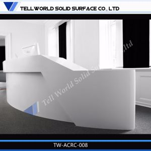 2014 Hot Fashion Design Curved Modern Furniture Corian White Reception Desk pictures & photos