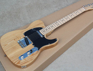 Factory Custom Fender Tele Natural Wood Color Electric Gutar with Ash Wood  Body, Strings-Thru-Body