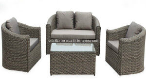 4 PCS Cushioned Wicker Sectional Patio Sofa Furniture Set