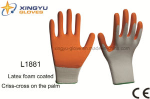 Polyester Shell Foam Latex Coated Criss-Cross Palm Safety Work Glove (L1881) pictures & photos
