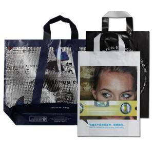 Plastic Soft Loop Handle Bags with Bottom Gusset pictures & photos