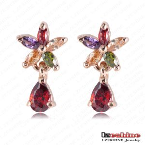 Rose Gold Plate Flower Zircon Dangle Earrings Er0165-a
