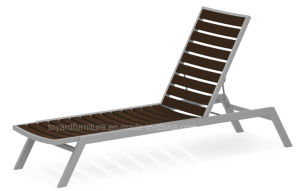 All Weathers Furniture Polywood Outdoor Garden Pool Lounge Chair with Adjustable Brown Back