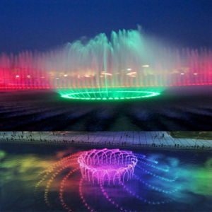 Circular Music Dancing Fountain with LED Colorful Lighting in Lake