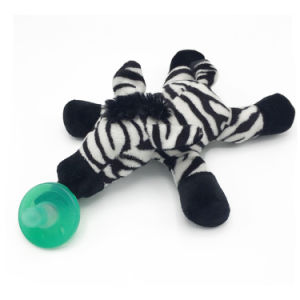 Stuffed Zebra Pacifiers Baby Toys with Silicone Binky Teething Soother
