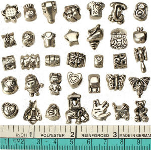 European Mixed Beads For Pandora Bracelets Diy Set Metal Hole Antique Silver Crafts Charms Slide