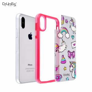 Rainbow Unicorn Printed Soft TPU Gel Frame Cover Matte PC Interchangeable Back Plate Shockproof Bumper Case for Apple iPhone X