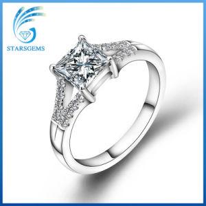 Square Princess Cut 2 Carats 7.5X7.5mm White Moissanite Diamond Silver Rings 3fe01ca656