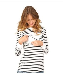 China Wholesale Pregnancy Clothes Cotton Black White Stripe Maternity Breastfeeding Tops China Maternity Clothes Price