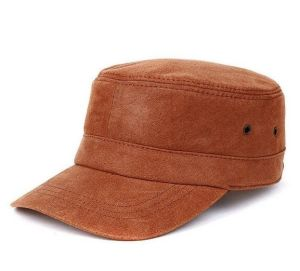 Brown Leather Flat Top Cap