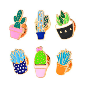 Metal Cactus Brooch Pins Wholesale for Women Jewelry Gift