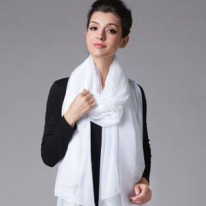 Polyester Chiffon White Scarf for Women