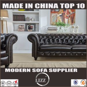 Chesterfield Modern Design Genuine Leather Sofa Set pictures & photos