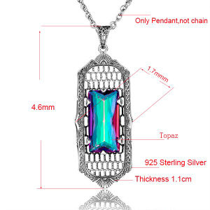 Rainbow Crystal 925 Streling Silver Long Pendant
